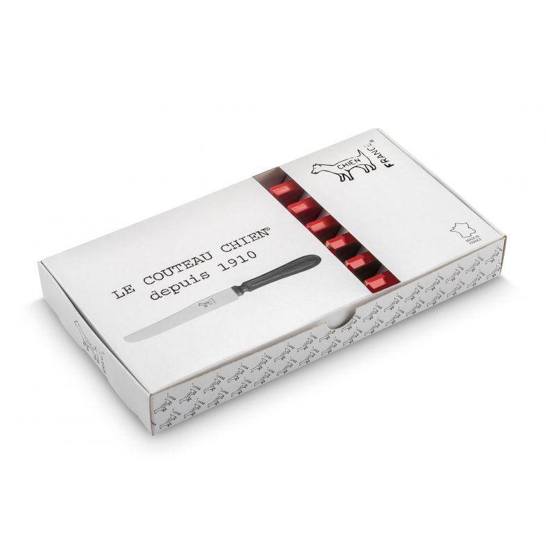 CHIEN MANCHE ROUGE X 6 dans boite blanche imprimée