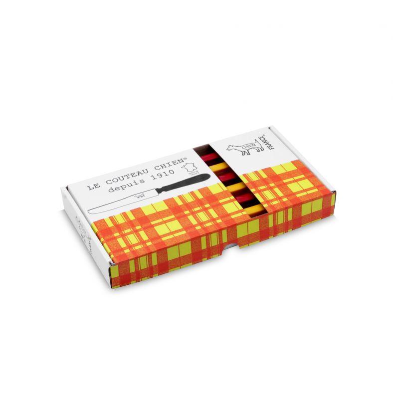 CHIEN® MANCHE ROUGE X 3 - MANCHE JAUNE X 3 boite MADRAS